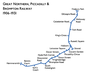 Great Northen, Piccadilly and Bromption railway map